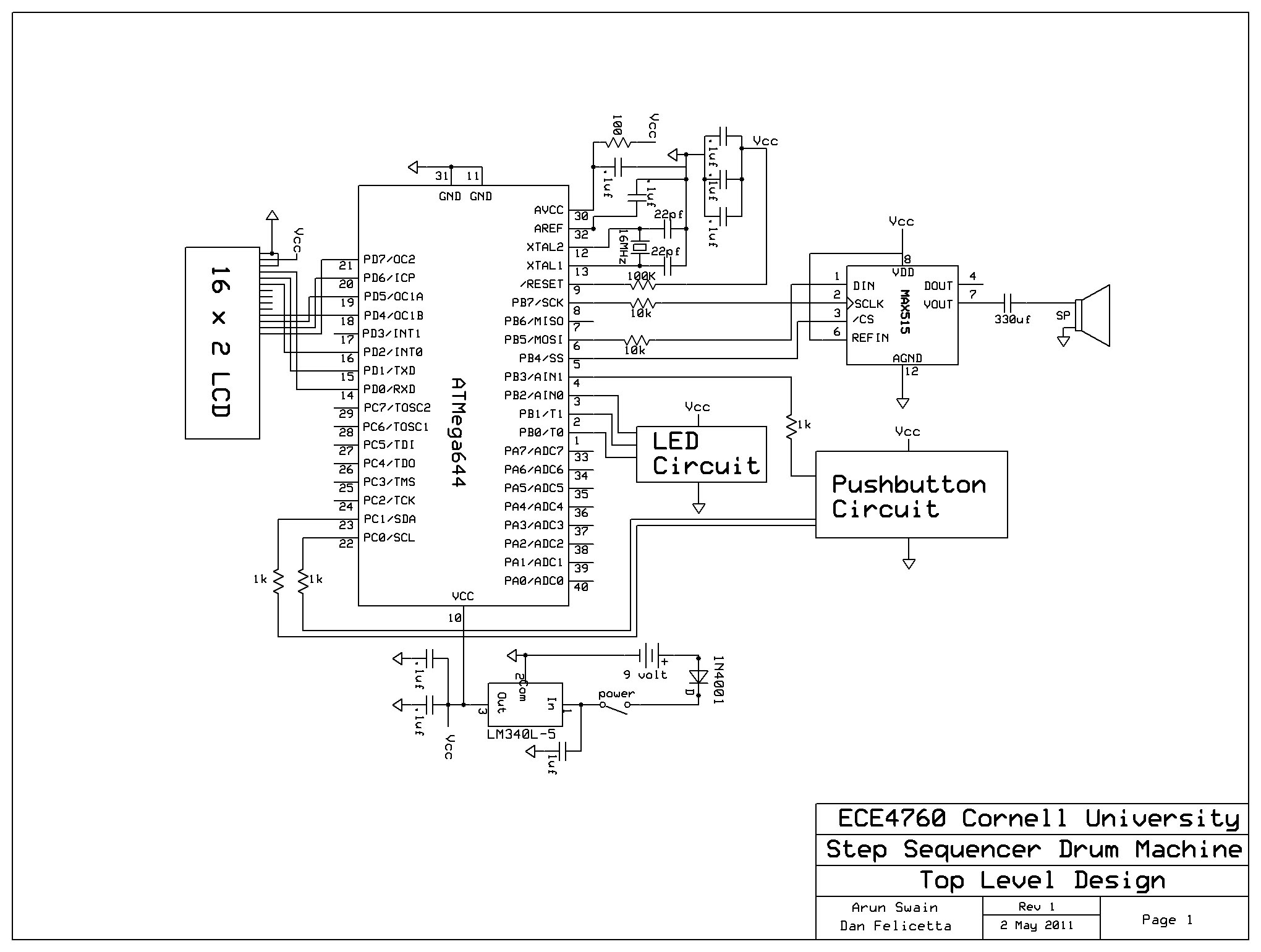 schematic_page1 step sequencer drum machine ece 4760 cornell university Ford Electronic Ignition Wiring Diagram at reclaimingppi.co