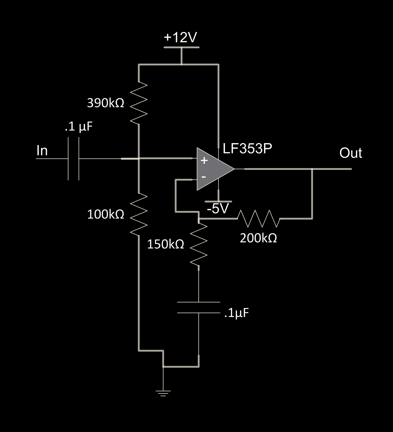 Ece 4760 Final Project Phased Array Speaker System Mfbp Circuit Applet For Narrow Band Pass Butterworth Filter The First Stage Is A High And Re Biasing Implemented By Capacitor Resistor Divider Corner Frequency Of This