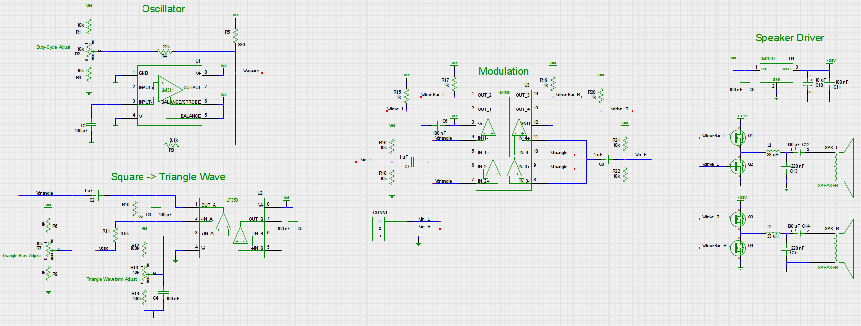 Ece 5030 Final Project Circuit Diagram Pwm To Amplified And Buffered Linear Signal Converter Speaker Amplifier