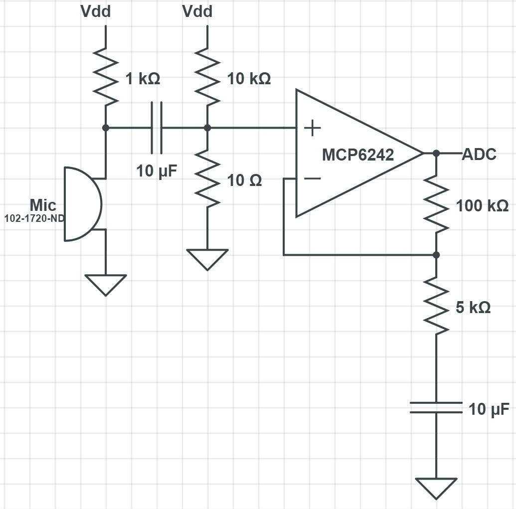 Recording studio the microphone recording was very unnoticable so we decided to leave it as is the schematic of our finalized microphone circuit is depicted below ccuart Images