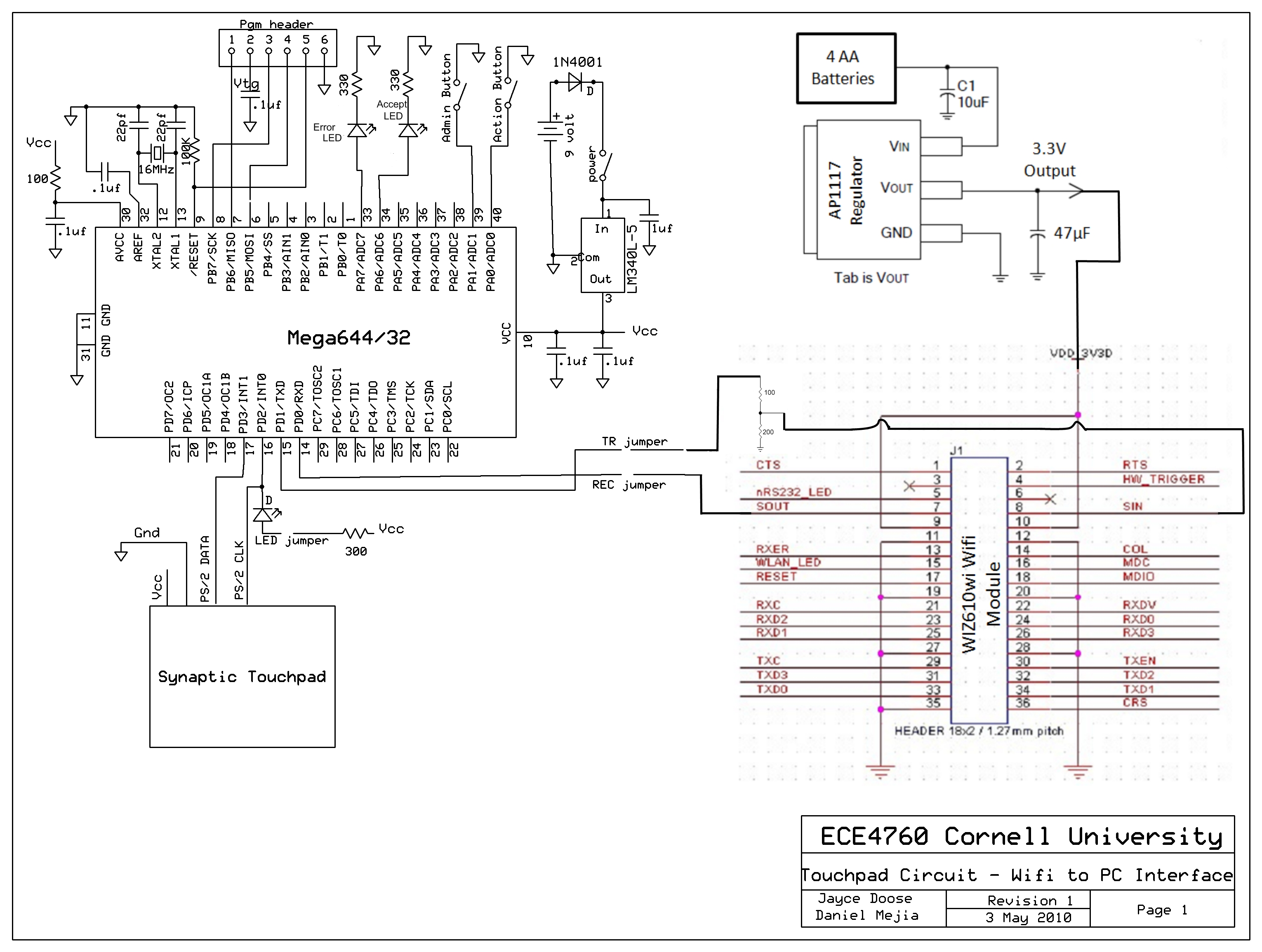 Touchpad - Wifi Interface Schematic