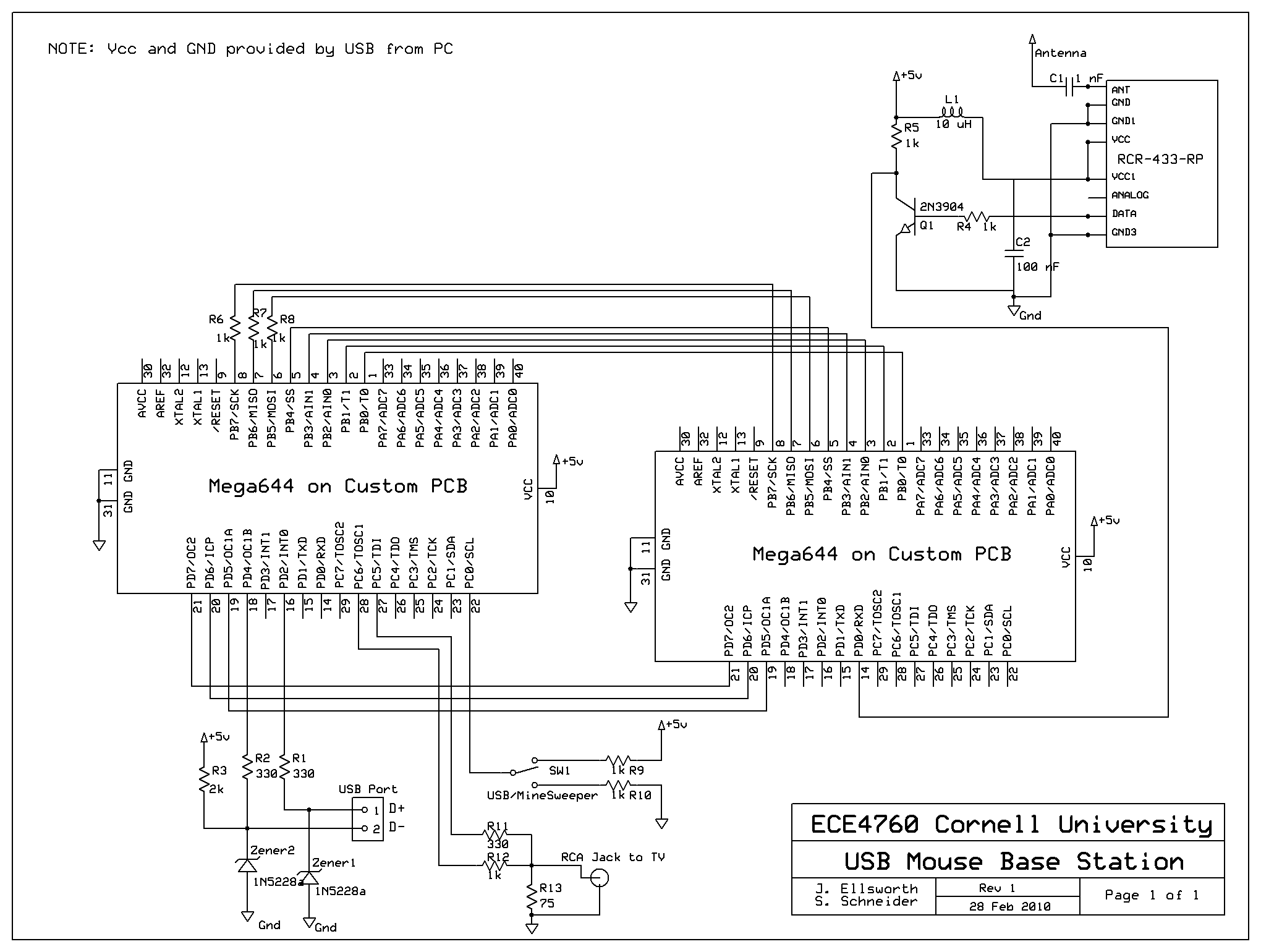 Wireless Usb Schematic Diagram Real Wiring Cable Wire Color Ece 4760 Spring 2010 Tilt Mouse Minesweeper Pin