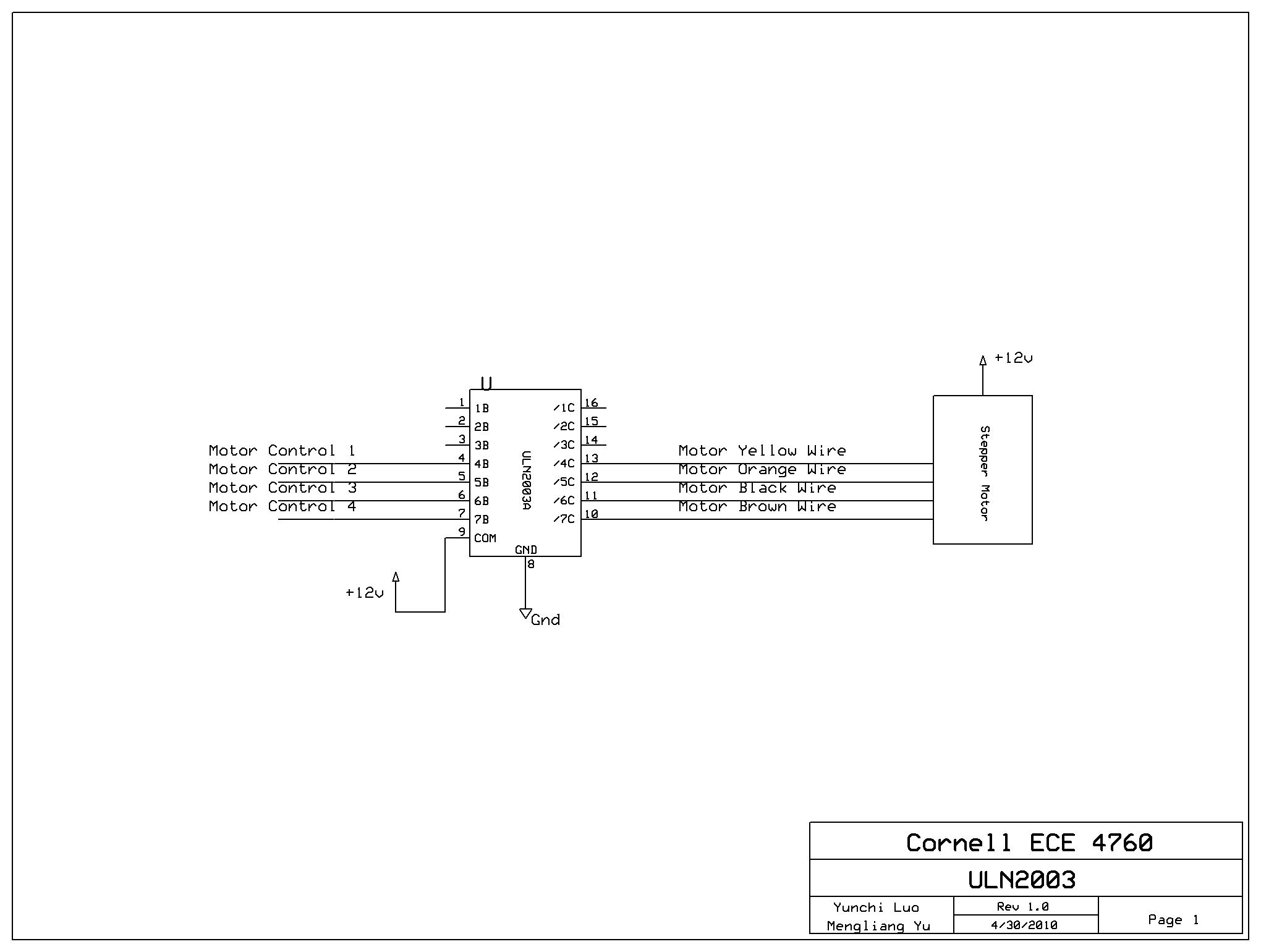 Ece 4760 Final Project Image Scan Using Phototransistor Array Thedarlingtonpaircircuitjpg Figure9 Uln2003 Motor Driving Circuit
