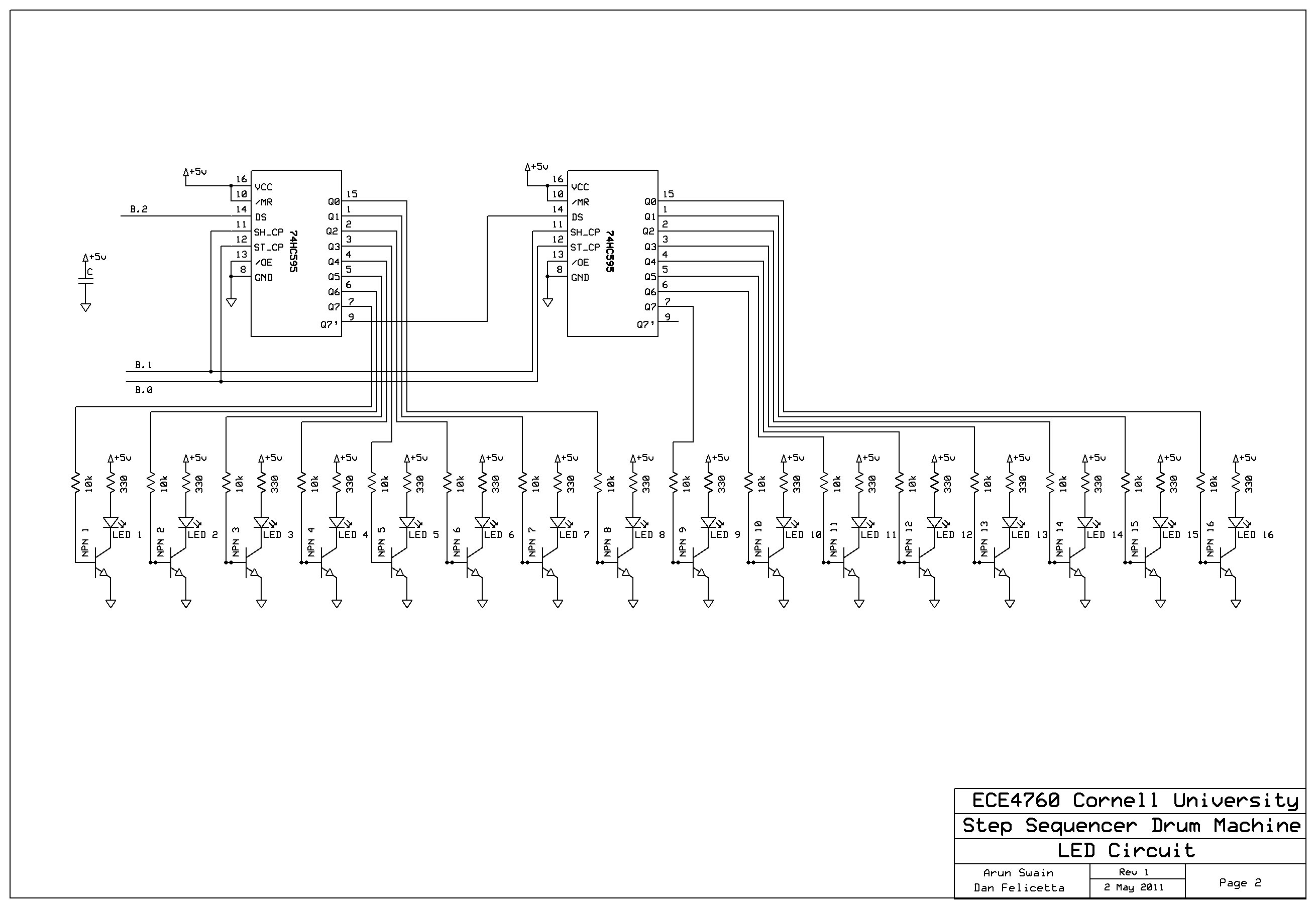 Step Sequencer Drum Machine Ece 4760 Cornell University Ic 4017 Circuits And Projects 16 Schematic Page 2