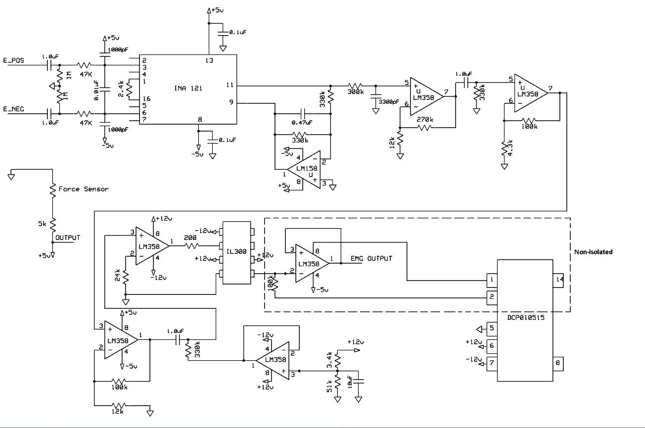 Ece 5030 Biometric Sensing Computer Mouse 232 Serial Port Circuit Diagram Amplifiercircuit Full Schematic Of Our Emg Used For Gesture Control